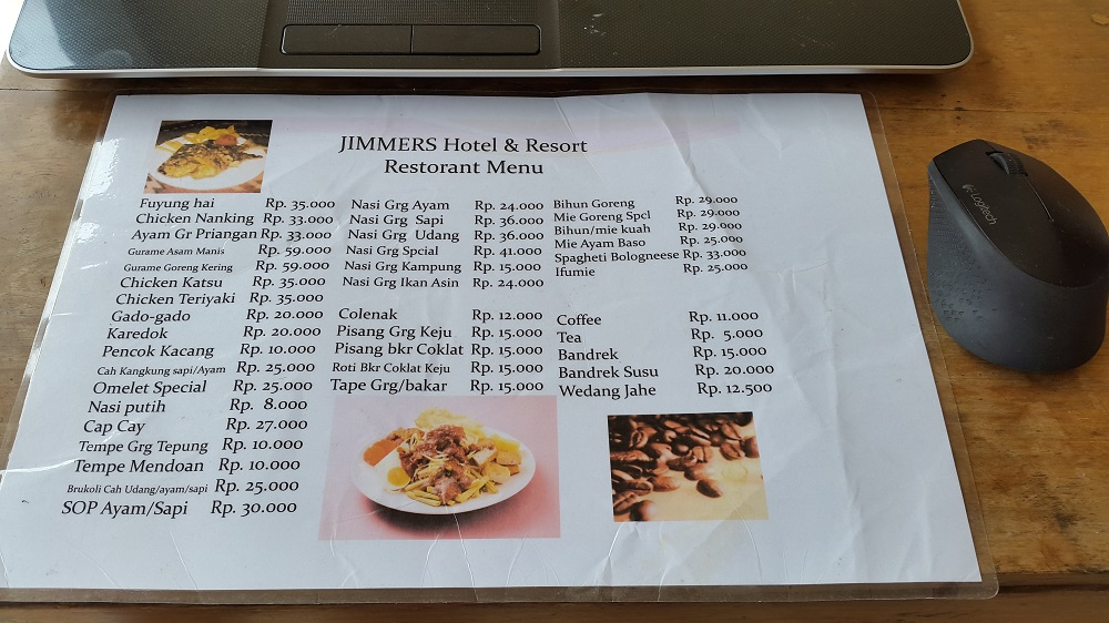 Jimmers Resort Mountain Resto menu. Murah-murah gan..!